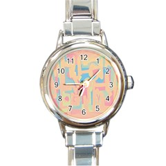 Abstract Art Round Italian Charm Watch by ValentinaDesign
