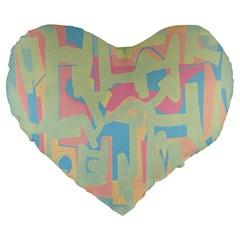 Abstract Art Large 19  Premium Heart Shape Cushions by ValentinaDesign