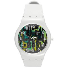 Abstract Art Round Plastic Sport Watch (m) by ValentinaDesign