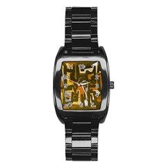 Abstract Art Stainless Steel Barrel Watch by ValentinaDesign