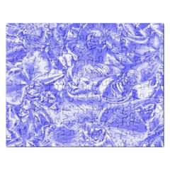 Shimmering Floral Damask,blue Rectangular Jigsaw Puzzl