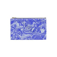 Shimmering Floral Damask,blue Cosmetic Bag (small)  by MoreColorsinLife