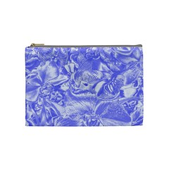 Shimmering Floral Damask,blue Cosmetic Bag (medium)  by MoreColorsinLife