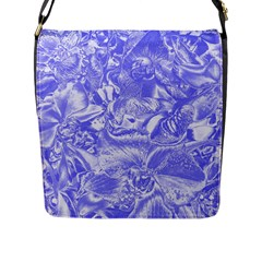 Shimmering Floral Damask,blue Flap Messenger Bag (l)  by MoreColorsinLife