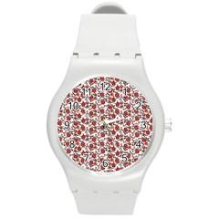 Roses Pattern Round Plastic Sport Watch (m) by Valentinaart