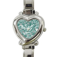 Shimmering Floral Damask, Teal Heart Italian Charm Watch by MoreColorsinLife