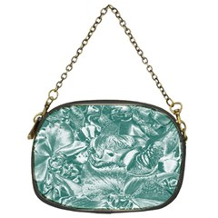 Shimmering Floral Damask, Teal Chain Purses (two Sides)  by MoreColorsinLife