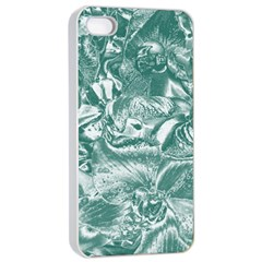 Shimmering Floral Damask, Teal Apple iPhone 4/4s Seamless Case (White)