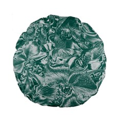 Shimmering Floral Damask, Teal Standard 15  Premium Flano Round Cushions by MoreColorsinLife