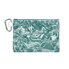 Shimmering Floral Damask, Teal Canvas Cosmetic Bag (m) by MoreColorsinLife