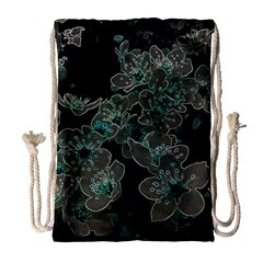 Glowing Flowers In The Dark C Drawstring Bag (large) by MoreColorsinLife