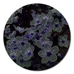 Glowing Flowers In The Dark B Magnet 5  (round) by MoreColorsinLife