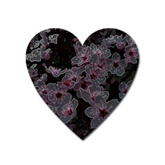 Glowing Flowers In The Dark A Heart Magnet by MoreColorsinLife