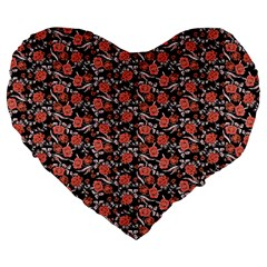 Roses Pattern Large 19  Premium Heart Shape Cushions by Valentinaart
