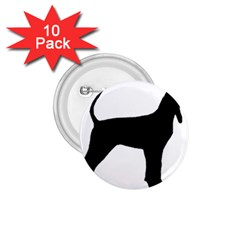 Black And Tan Coonhound Silo Black 1 75  Buttons (10 Pack) by TailWags