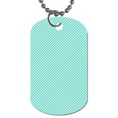 Tiffany Aqua Blue Diagonal Sailor Stripes Dog Tag (Two Sides) by PodArtist