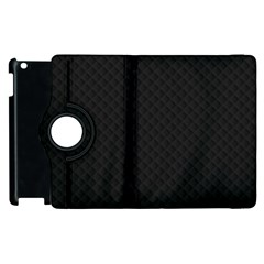 Sleek Black Stitched and Quilted Pattern Apple iPad 3/4 Flip 360 Case by PodArtist