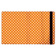 White Heart-Shaped Clover on Orange St. Patrick s Day Apple iPad 3/4 Flip Case by PodArtist