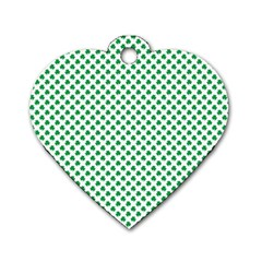 Green Shamrock Clover on White St. Patrick s Day Dog Tag Heart (Two Sides)