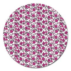 Roses Pattern Magnet 5  (round) by Valentinaart