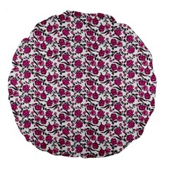 Roses Pattern Large 18  Premium Flano Round Cushions by Valentinaart