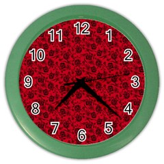 Roses Pattern Color Wall Clocks by Valentinaart