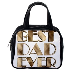 Best Dad Ever Gold Look Elegant Typography Classic Handbags (one Side) by yoursparklingshop