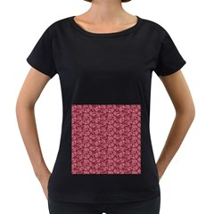Roses pattern Women s Loose-Fit T-Shirt (Black) by Valentinaart