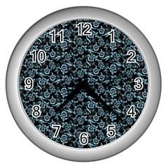 Roses Pattern Wall Clocks (silver)  by Valentinaart