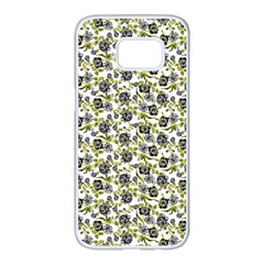 Roses Pattern Samsung Galaxy S7 Edge White Seamless Case by Valentinaart
