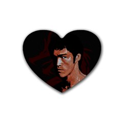 Bruce Lee Rubber Coaster (heart)  by Valentinaart