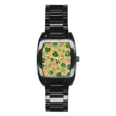 Tropical Pattern Stainless Steel Barrel Watch by Valentinaart