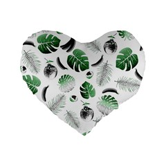 Tropical Pattern Standard 16  Premium Heart Shape Cushions by Valentinaart
