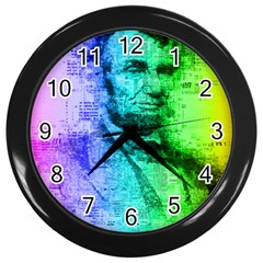 Abraham Lincoln Portrait Rainbow Colors Typography Wall Clocks (black) by yoursparklingshop