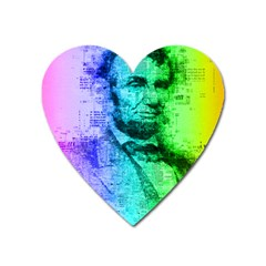 Abraham Lincoln Portrait Rainbow Colors Typography Heart Magnet by yoursparklingshop