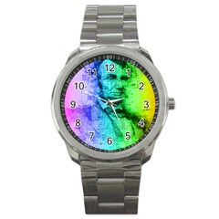 Abraham Lincoln Portrait Rainbow Colors Typography Sport Metal Watch by yoursparklingshop