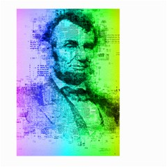 Abraham Lincoln Portrait Rainbow Colors Typography Large Garden Flag (two Sides) by yoursparklingshop
