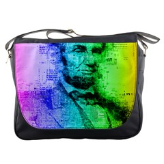 Abraham Lincoln Portrait Rainbow Colors Typography Messenger Bags by yoursparklingshop