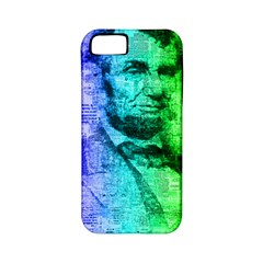 Abraham Lincoln Portrait Rainbow Colors Typography Apple Iphone 5 Classic Hardshell Case (pc+silicone) by yoursparklingshop