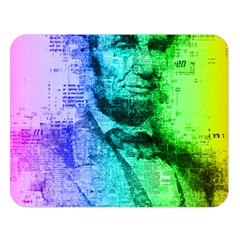 Abraham Lincoln Portrait Rainbow Colors Typography Double Sided Flano Blanket (large)  by yoursparklingshop