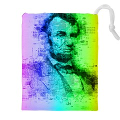 Abraham Lincoln Portrait Rainbow Colors Typography Drawstring Pouches (xxl) by yoursparklingshop