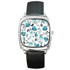 Tropical Pattern Square Metal Watch by Valentinaart