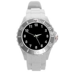 Black Round Plastic Sport Watch (l) by ValentinaDesign