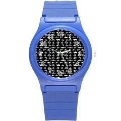 Fish Pattern Round Plastic Sport Watch (s) by ValentinaDesign