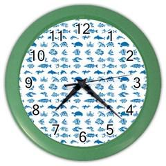 Fish Pattern Color Wall Clocks by ValentinaDesign