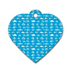 Fish pattern Dog Tag Heart (Two Sides)