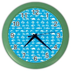 Fish Pattern Color Wall Clocks by ValentinaDesign
