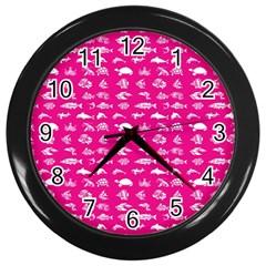Fish Pattern Wall Clocks (black) by ValentinaDesign