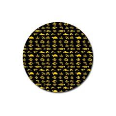Fish Pattern Magnet 3  (round) by ValentinaDesign