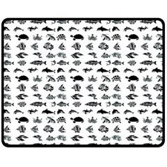 Fish Pattern Double Sided Fleece Blanket (medium)  by ValentinaDesign